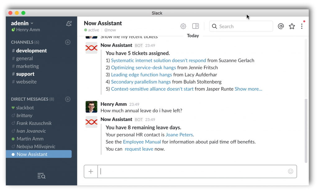 Now Assistant supports Slack integration through the Slack Bot