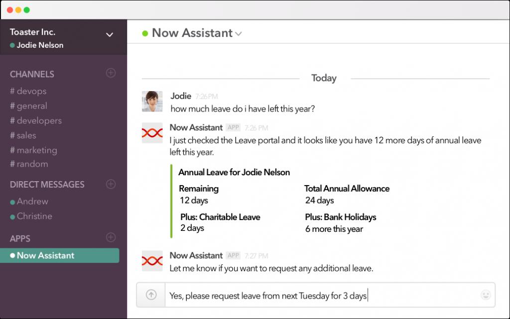 AI chatbot Now Assistant - Slack integration