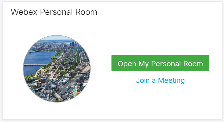 Shows you your avatar and a direct link to open your personal room or recurring meeting ID.