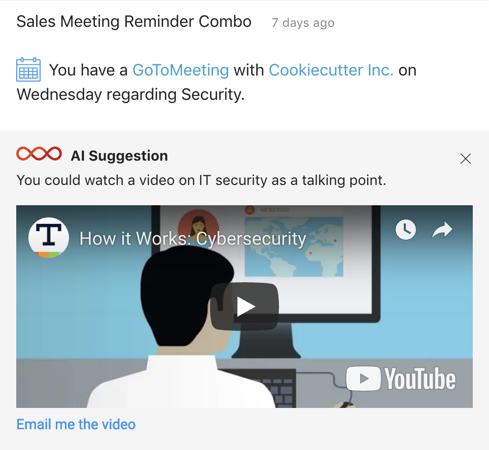 Get AI-powered content suggestions related to your sales activities and upcoming meetings from Digital Assistant.