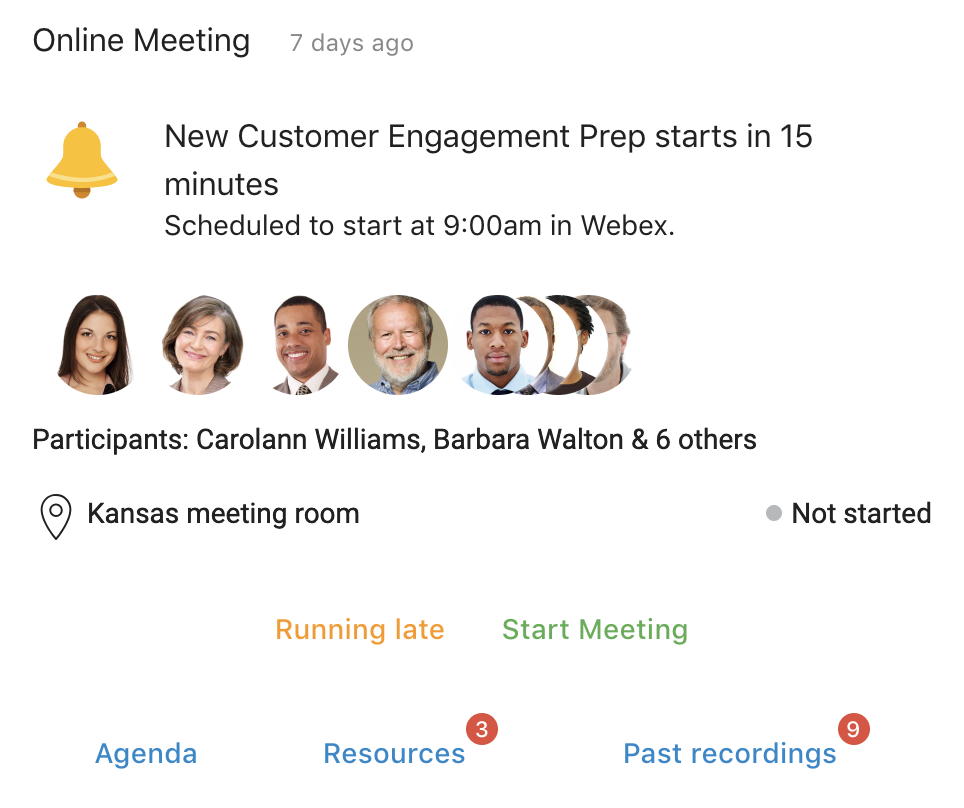 See reminders for upcoming online meetings, along with information about attendees and location. You can start the meeting or indicate that you'll be late, as well as see links to other pertinent information.