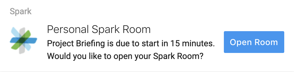 Get suggestions to open your personal Webex Spark meeting room before your online meetings are due to start.