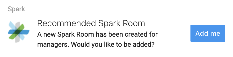 AI Recommended Content shows suggestions for content you might enjoy, such as Cisco Spark rooms which are related to your roles and responsibilities.