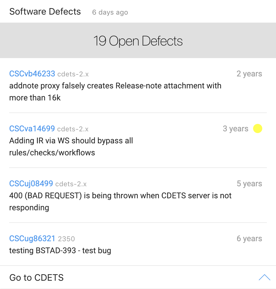 See open issues and defects assigned to you, including issue status