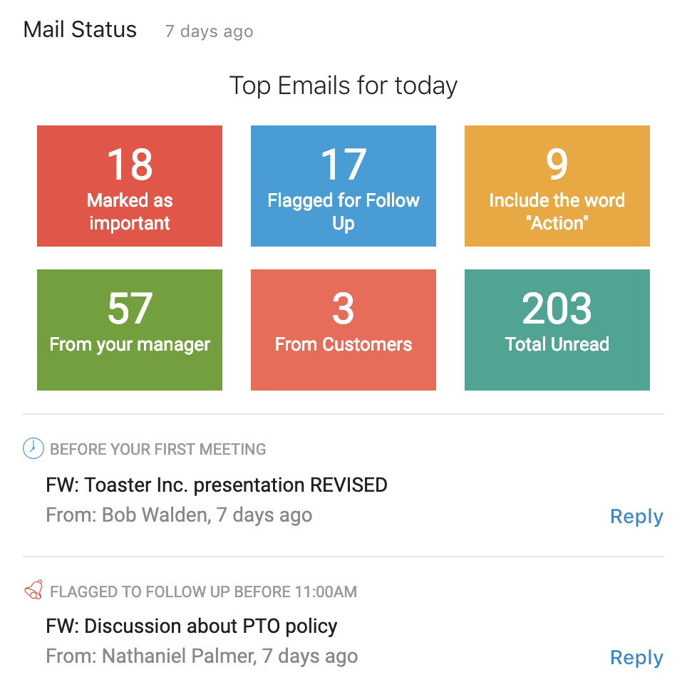 Get an overview of your inbox. The AI highlights points of interest for you based on your role, calendar and assigned tasks.