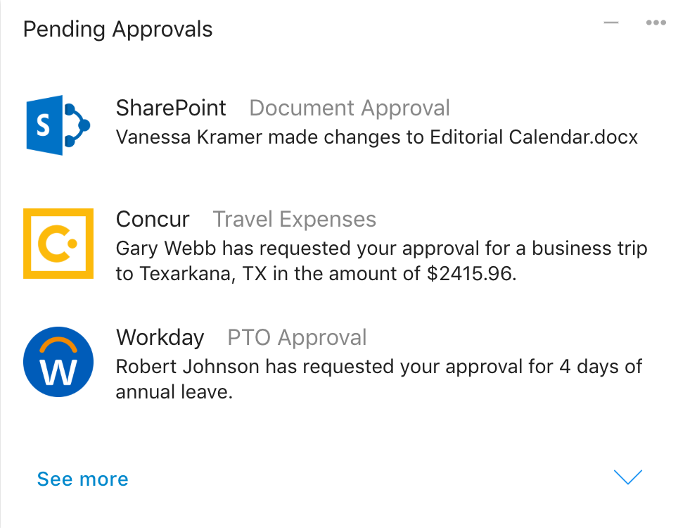 Example of an Approvals Card that is pinned to your Board permanently, in addition or in lieu of receiving individual notifications.