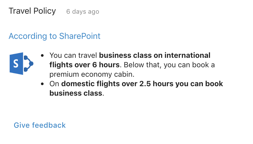 Ask questions and receive answers about your company travel policy.