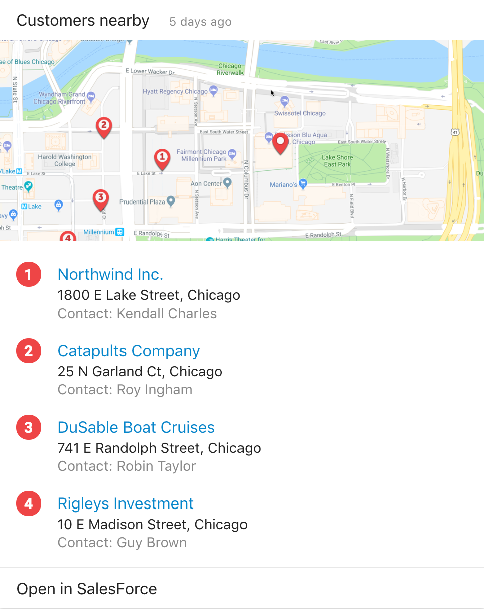 Whether you're on the go or at your normal office, see which customers are located nearby, with contact information and an interactive map.