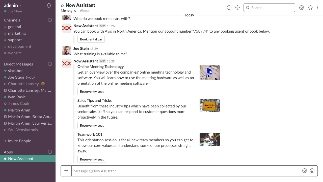 Show lists as individual items in Slack with corresponding buttons for the user to approve, select, submit, etc.