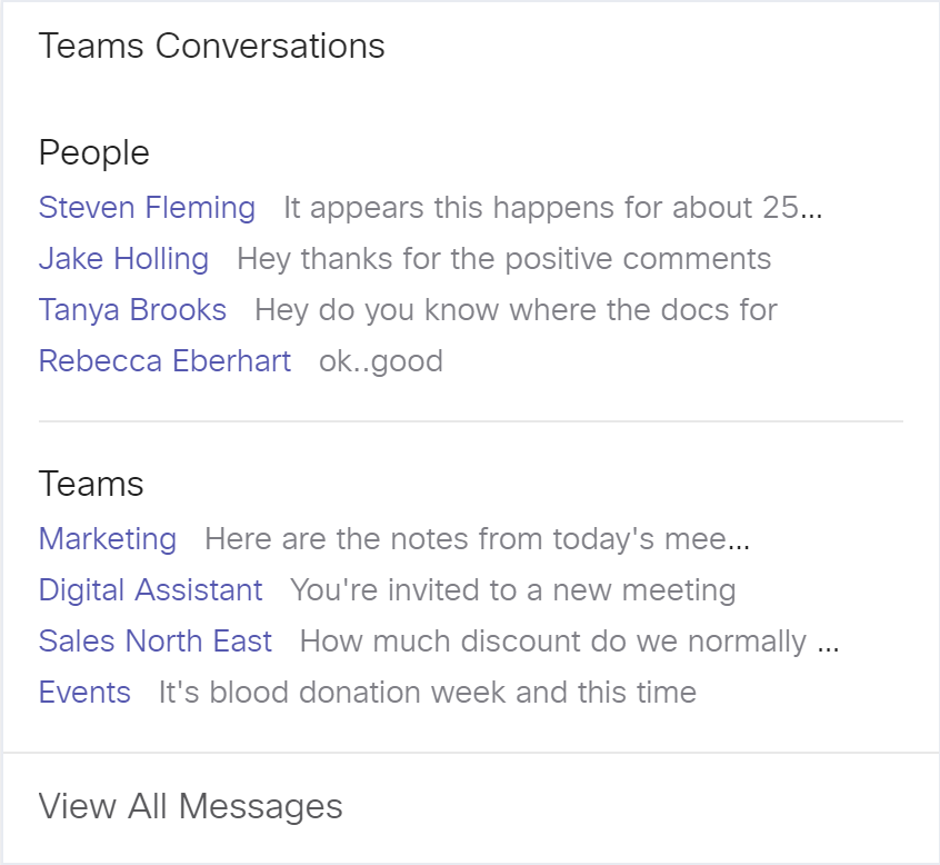 Get recent conversations from Microsoft Teams on your Board.